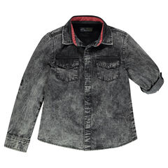 Júnior - Camisa de manga larga vaquera efecto cold dye