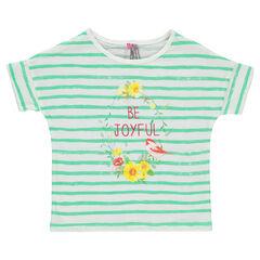 Camiseta de manga corta de rayas con estampado de fantasía