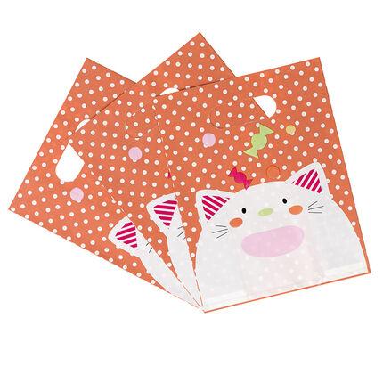 Juego de 10 bolsas para caramelos de cumpleaños con dibujo de gato