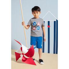 Conjunto con camiseta de efecto neps con solapas estampadas