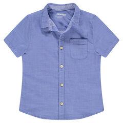Júnior - Camisa de manga corta azul con bolsillo tipo parche