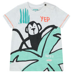 Camiseta de manga corta de punto con estampado tropical