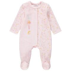 Pijama de terciopelo con estampado de fantasía y mensaje bordado