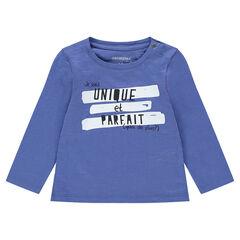 Camiseta de manga larga de punto con estampado de fantasía y cuello con botones a presión