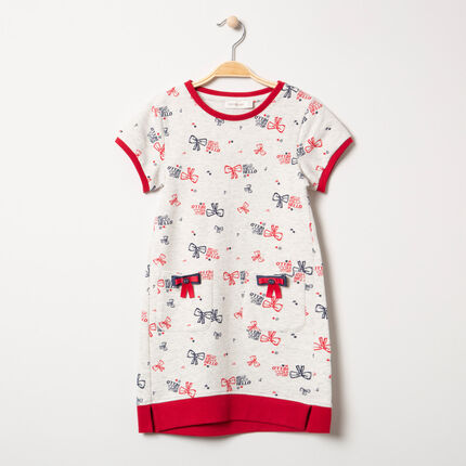 Robe manches courtes avec motif noeud all-over