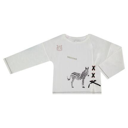 Camiseta de manga larga con estampado brillantes y cordones de fantasía