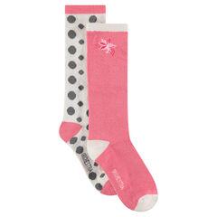 Juego de 2 pares de calcetines altos con motivos de jacquard de fantasía