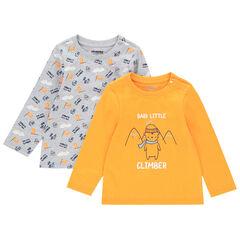 Lot de 2 t-shirts en coton pour bébé garçon à motifs fantaisie , Orchestra