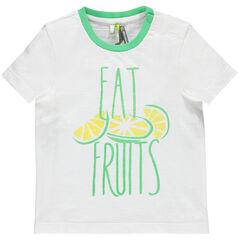 Camiseta de manga corta con frutas e inscripciones estampadas