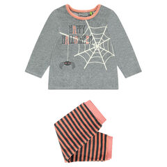 Pijama de terciopelo con tela de araña estampada HALLOWEEN