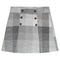 Falda de cuadros con doble abertura con botones a presión