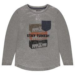 Júnior - Camiseta de manga larga de punto de efecto descolorido con estampado vintage