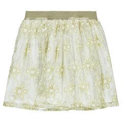 Falda con volantes y flores doradas de encaje