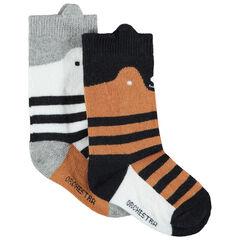 Juego de 2 pares de calcetines de lobo de rayas de jácquard