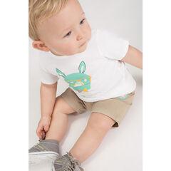 Conjunto con camiseta con estampado de conejo y pantalón corto con bolsillos