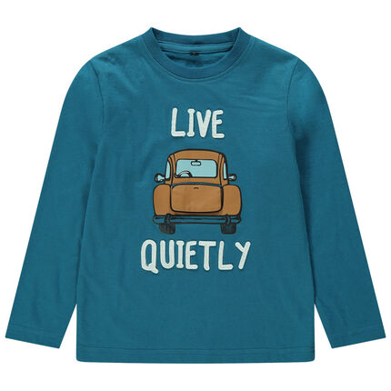 Camiseta de punto de manga larga con coche estampado con maletero de fantasía