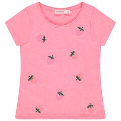 camiseta mangas cortas rosa con fresas en lentejuelas