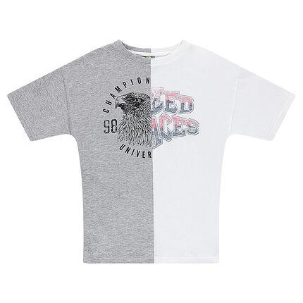 Júnior - Camiseta de manga corta bicolor de punto con estampado