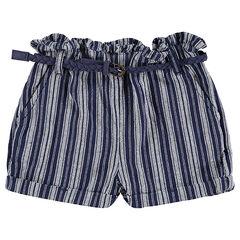 Pantalón corto con rayas de jacquard y cinturón trenzado desmontabke