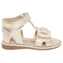 Sandalias doradas de cuero
