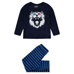 Pijama de terciopelo con león estampado
