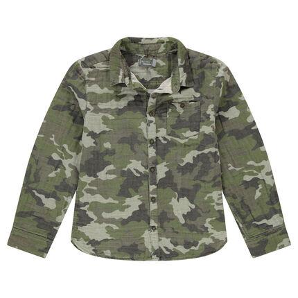 Júnior - Camisa con estampado militar de algodón de doble cara