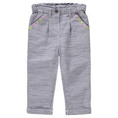 Pantalón corto de algodón de fantasía con bordados de colores