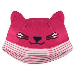 Gorro de punto con orejas de gato de relieve y detalles bordados