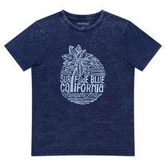 Júnior - Camiseta de manga corta azul vaquero con estampado de estilo surfero
