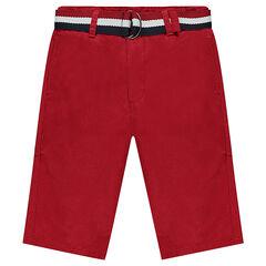 Júnior - Bermudas de sarga roja con cinturón extraíble