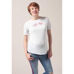 Camiseta premamá de manga corta con mensaje estampado