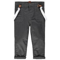 Pantalón de algodón con tirantes elásticos desmontables