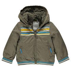 Cortaviento con capucha forrada de telas sherpa con rayas