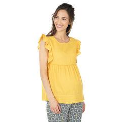 Top de premamá amarillo con manga corta con volantes