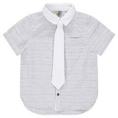 Camisa de manga corta de rayas con corbata lisa extraíble