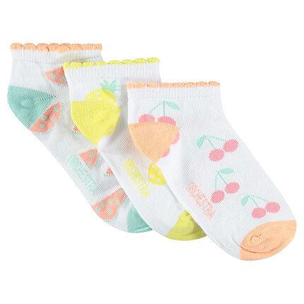 Juego de 3 pares de calcetines cortos con frutas de jacquard