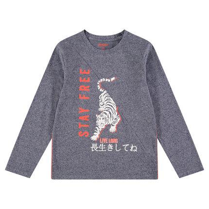 Júnior - Camiseta de manga larga de punto jaspeado con tigre y tectos estampados