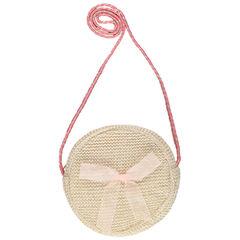 bolso de paja redondo con bandolera rosa y dorada , Pomme Framboise