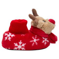 Zapatillas de peluche de ciervo de Navidad con motivo de copos de nieve del 24 al 27
