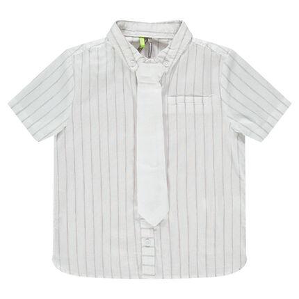 Camisa de manga corta de algodón con rayas y corbata