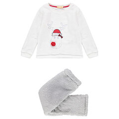 Pijama de Navidad de borreguillo con ciervo bordado y pompones