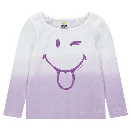 Camiseta de manga larga con efecto tie and dye con ©Smiley de lentejuelas