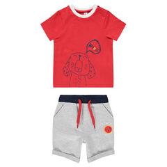 Conjunto de camiseta de manga corta con estampado perrito y bermudas jaspeadas