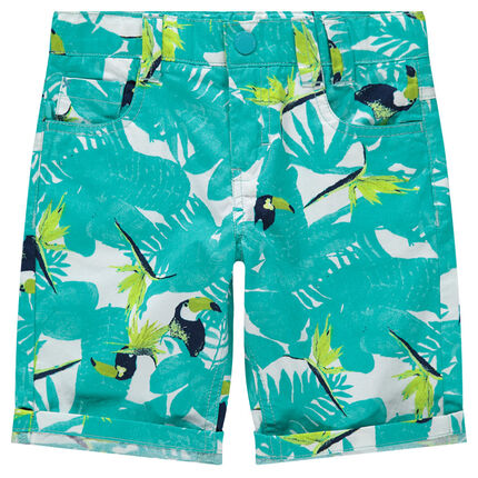 Bermudas de algodón con estampado vegetal y tucanes all over
