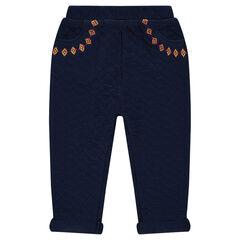 Pantalón de felpa de fantasía con bordados
