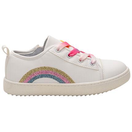 Zapatillas bajas con arcoíris bordado y cordones con degradado de colores