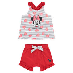 Conjunto de camiseta ©Disney estampado Minnie y pantalón corto con lazo