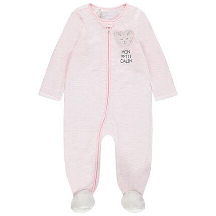 Pijama de borreguillo con cremallera y corazón cosido