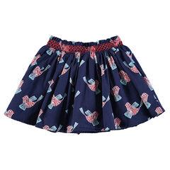 Falda de volantes con pájaros estampados y cintura elástica