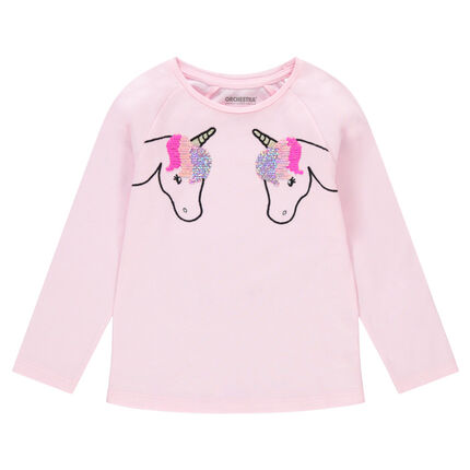 Camiseta de manga larga de punto con unicornios bordados y lentejuelas mágicas